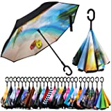 Self Stand Upside Down With C-Shaped Handle Folding Reverse Umbrella For Car Rain Outdoor Silhouette Sunset Of Cowboy Riders In The Wilderness Windproof Inverted Umbrella Double Layer UV Protection