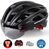 Basecamp Bike Helmet, Light Weight Bicycle Helmet CPSC Certified Specialized Cycling Helmet with Removable Visor& Safety Light& Adjustable Liner for Men&Women