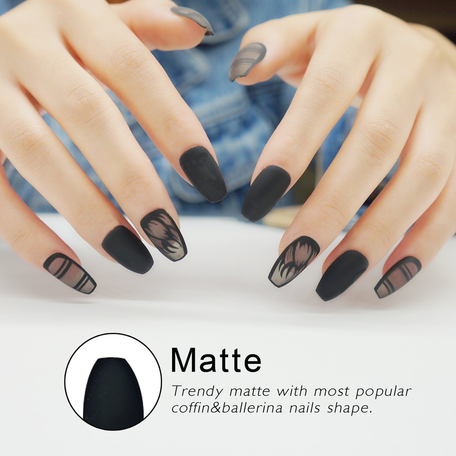 Amazon.com : False Nails Coffin Shape with Designs Matte 24 Pieces ...