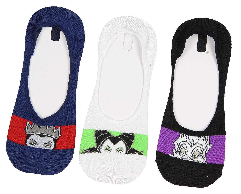 Disney Villains Socks Ursula Maleficent Evil Queen 3 Pair No Show Liner Socks Size 9-11