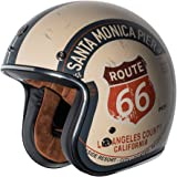 TORC unisex-adult open-face-helmet-style T50 Route 66 3/4 Helmet (with 'PCH' Graphic) (Flat White,Large), 1 Pack