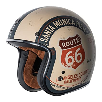 TORC Unisex-Adult Open-face Style T50 Route 66 3/4 Helmet (with 'PCH'  Graphic) (Flat White, Large)