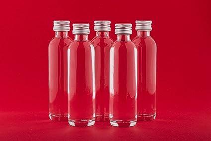 Botellas de Vidrio Vacías 20 ml 24 Minibotellas con Cierre Roscado para Rellenar con Licor Aguardiente