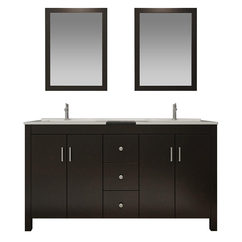 85 Off Ariel K060d Esp Hanson 60 Solid Birch Wood Double Sink Bathroom Vanity Set In Espresso