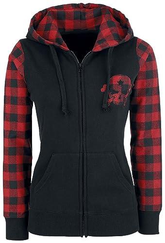 R.E.D. by EMP Sudadera Checkered Skull Chaqueta con capucha Mujer negro/rojo