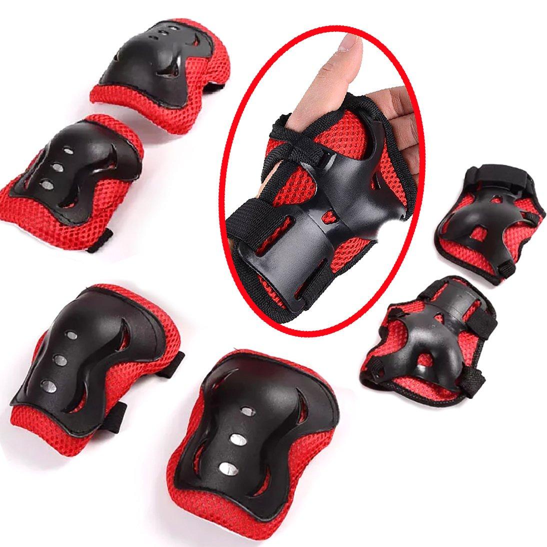 【 開梱 設置?無料 】 保護具、子供用ニーエルボーパッドおよびリストガードキッズパッドセットインラインローラースケートサイクリングスケートボードスクーターブラック B076D6LDZL&レッド B076D6LDZL, タカハシシ:b281e350 --- a0267596.xsph.ru