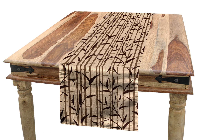 Lunarable Camino de Mesa de bambú, Fresco, Oriental jardín follaje ...
