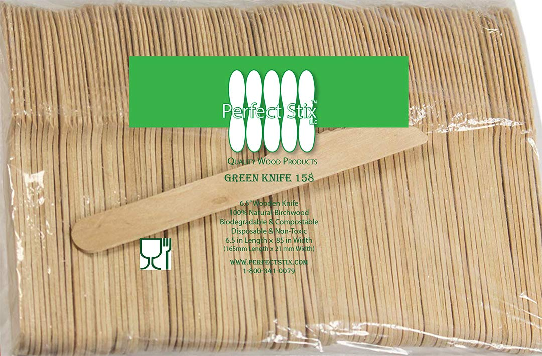 Perfect Stix Wooden Disposable Cutlery Knifes 6'' length ( pack of 1000ct) by Perfect Stix
