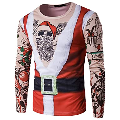 Amazon.com: SMALLE ◕‿◕ Clearance,Blouse for Men, Autumn Winter Xmas Christmas PrintingTop Blouse for Men,s Long-Sleeved T-Shirt Blouse: Clothing