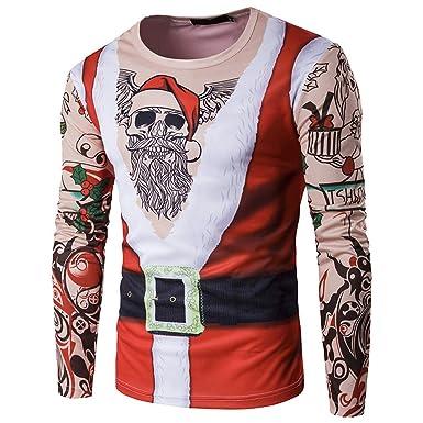 595165e5d5804 AIMEE7 T Shirt Homme Noël Imprimé Tee Shirt Manches Longues Col Rond Rétro Pull  Noël Grande