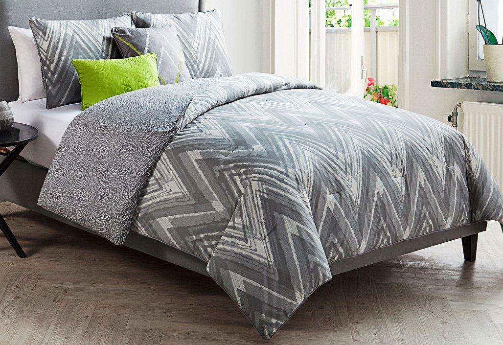 Luxury Home 5-Piece Malina Comforter Set,Gray Queen