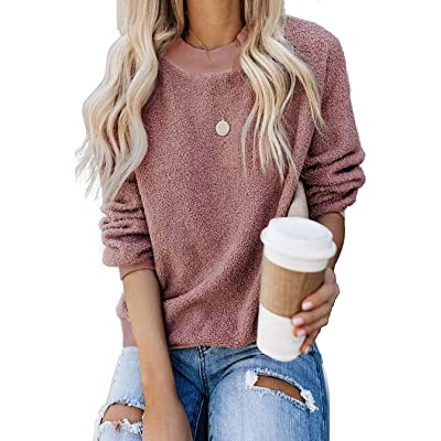 Aifer Womens Fuzzy Sweatshirt Long Sleeve Sweater Crewneck Pullover Plain Sherpa Warm Outwear Tops at Women's Clothing store