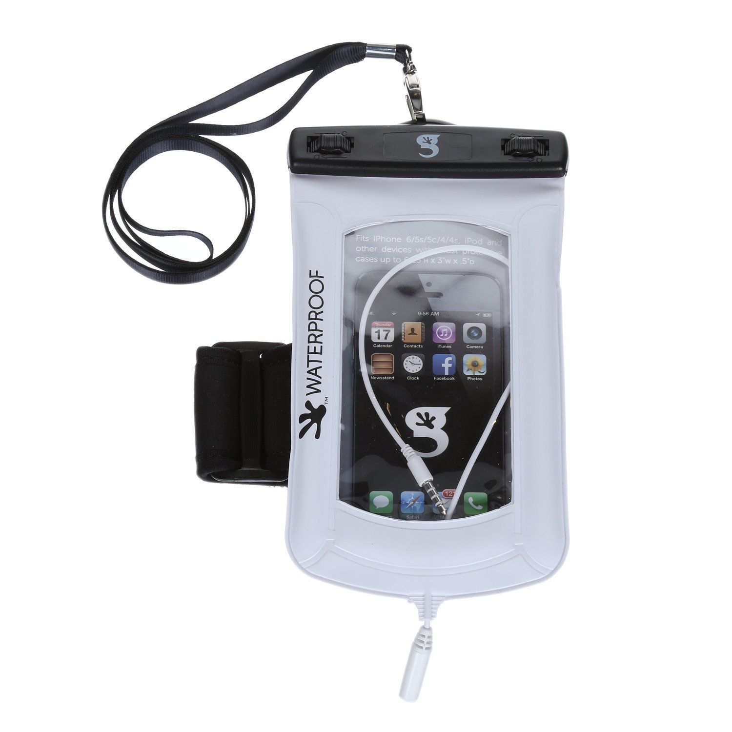 geckobrands Float Phone Dry Bag with Audio Cord & Arm Band- White by geckobrands (Image #1)