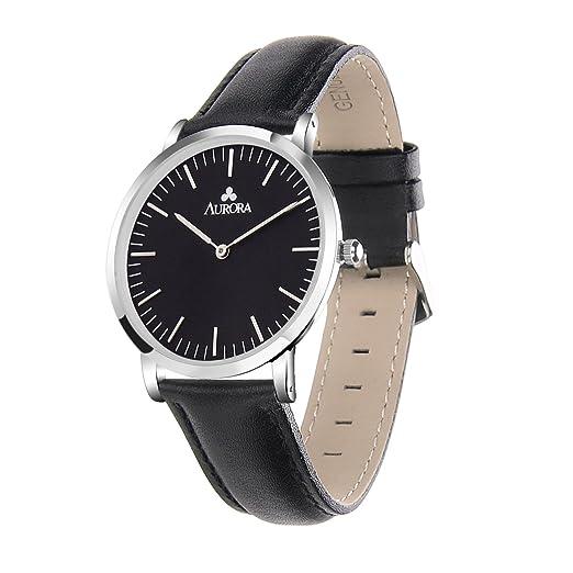 Aurora Watch relojes mujer correa de negro relojes casual mujeres: Amazon.es: Relojes