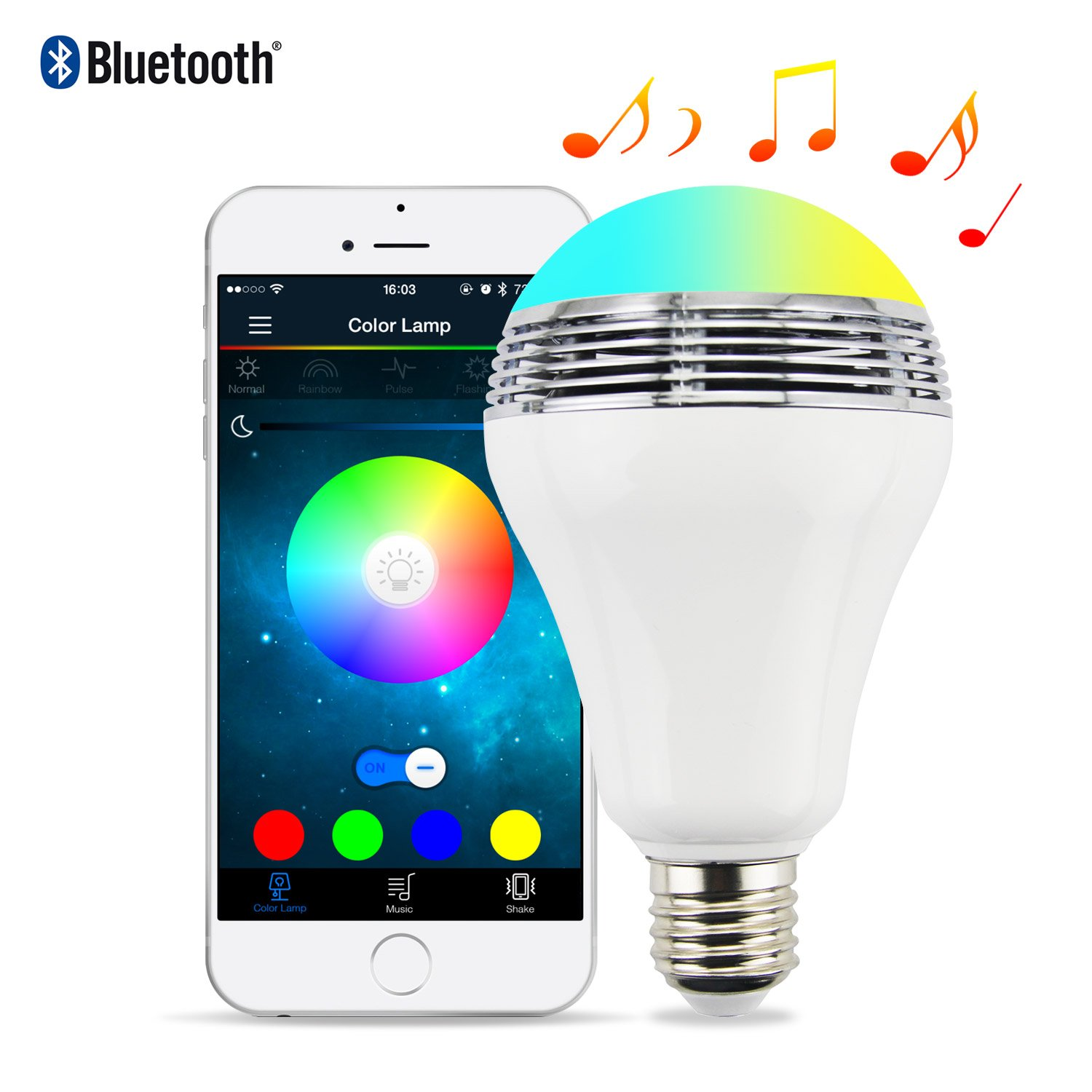 Smart LED Bulbs with Bluetooth Speaker, 6W E27 Dimmable RGB Light Bulbs Color Changing Music Lamps, App Control work with Android and iOS (Multi-colored)