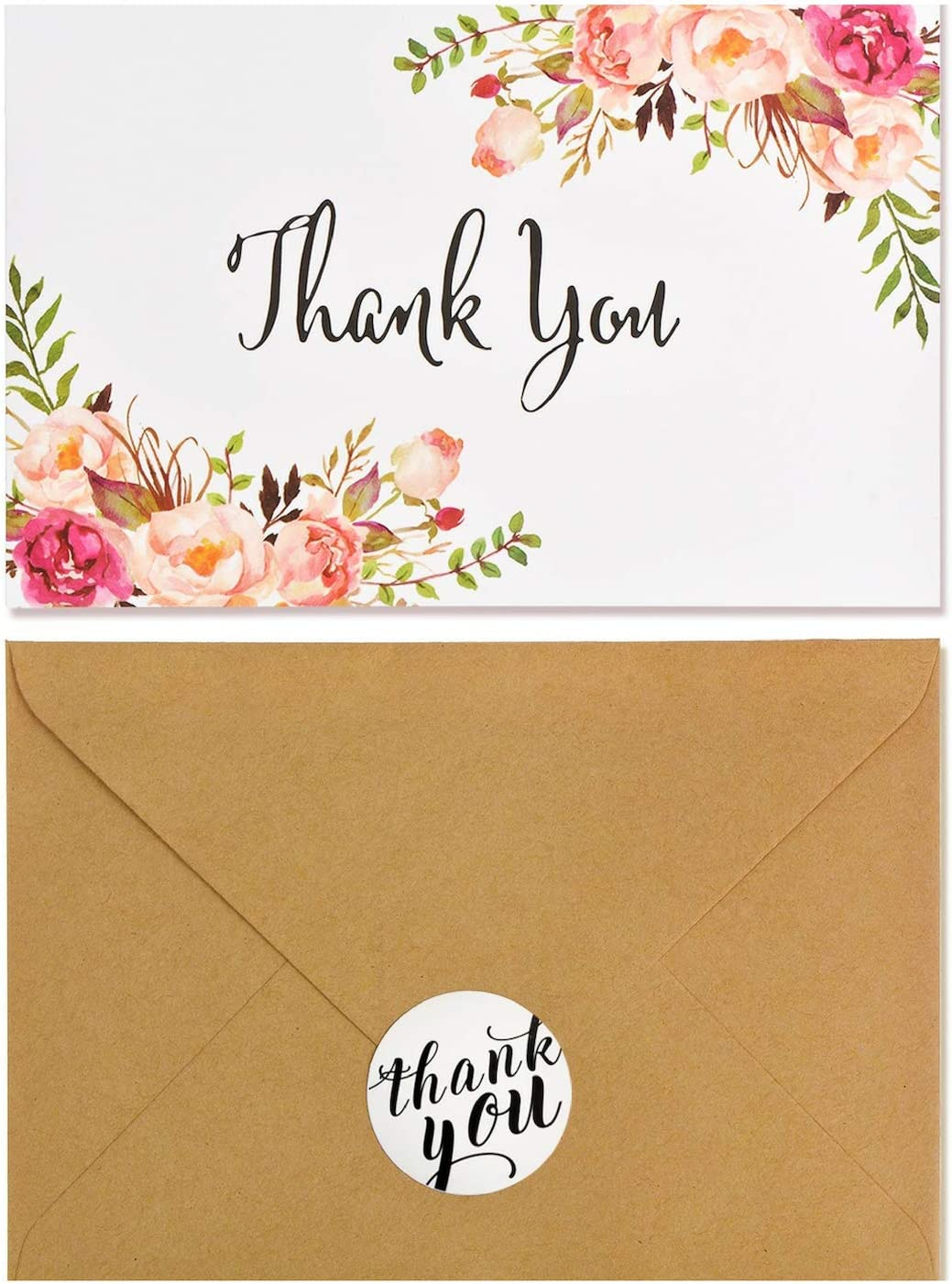 Boho Chic Floral Modern Thank You Note Card,40 Pack Thank You Card Bulk,Blank Note Card with Kraft Paper Envelopes and Stickers-Perfect for Wedding, Baby