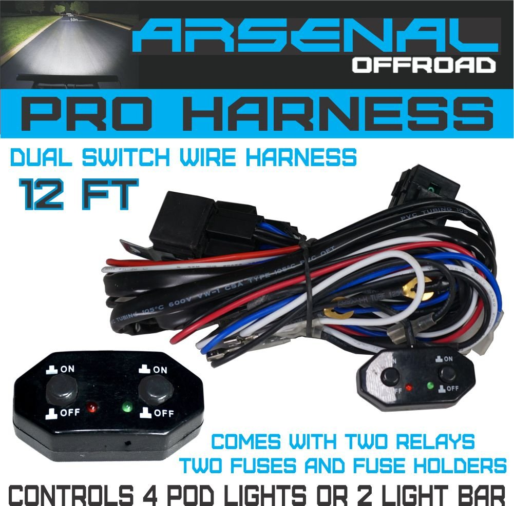 No1 Dual Switch Pro Universal Wire Harness Controls 4 Wiring A To Two Lights Pods Or Light Bars Comes W 40 Amp Relays On Off For Offroad Led