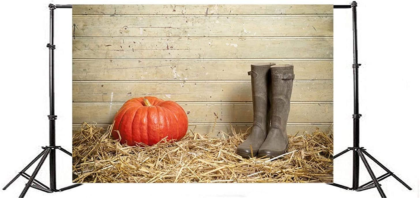 GoEoo 10x8ft Fall Farm Pumpkin Background Rustic Barn Hay Old Rubber Shoes Wooden Board Photography Backdrop Autumn Harvest Photo Studio Props Thanksgiving Holiday Party Decoration Vinyl Banner
