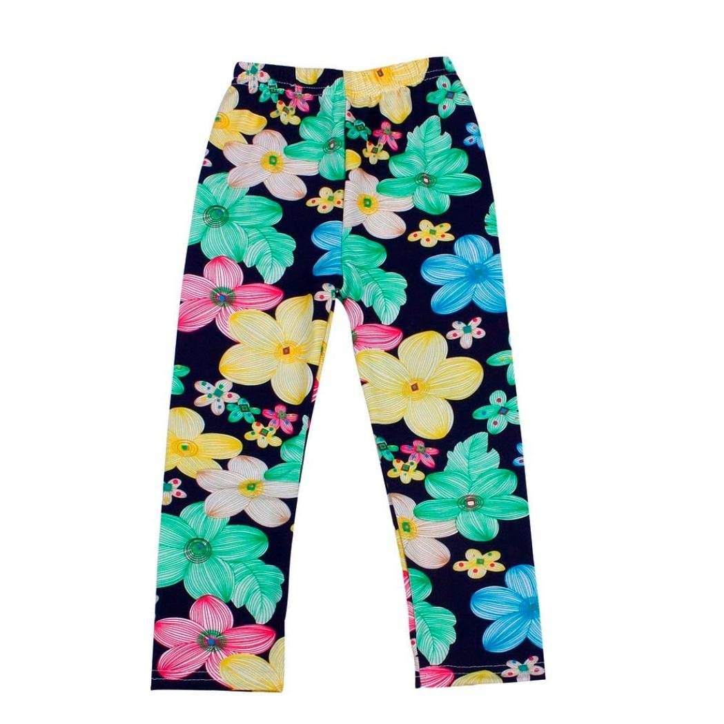 Deloito Girls Pants, Cute Kids Baby Girls Flower Printing Ninth Pants Tight Toddler Leggings Girls Tight Pants Childrens Summer Trousers Pencil Pants ❤ ️ Occasion:Daily