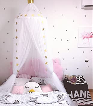 Jeteven Bed Canopy Round Dome Mosquito Net With Crown Playing Tent For Baby Fly Insect Protection