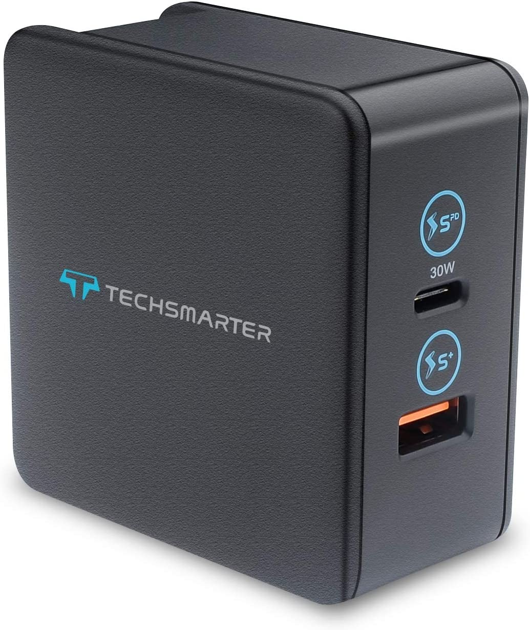 Techsmarter 48W Dual USB-C PD Wall Charger with 30W Power Delivery and 18W USB Ports. Compatible iPhone 11, XS, XR, X, 8, iPad, MacBook, Samsung S20, S10, S9, S8, S7 Note 8,9,10, Android Phones