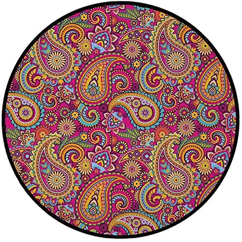 Printing Round Rug,Paisley,Paisley Patterns Based on Traditional Asian Elements Eastern Cultural Design Mat Non-Slip Soft Entrance Mat Door Floor Rug Area Rug For Chair Living Room,Multi