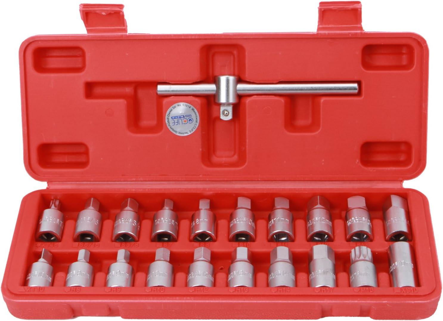 Cclife 21tlg Öldienstschlüssel Vierkant Ölwannenschlüssel Set Öldienst Schlüssel Für Ölablassschraube Mit 3 8 Gleitgriff Baumarkt