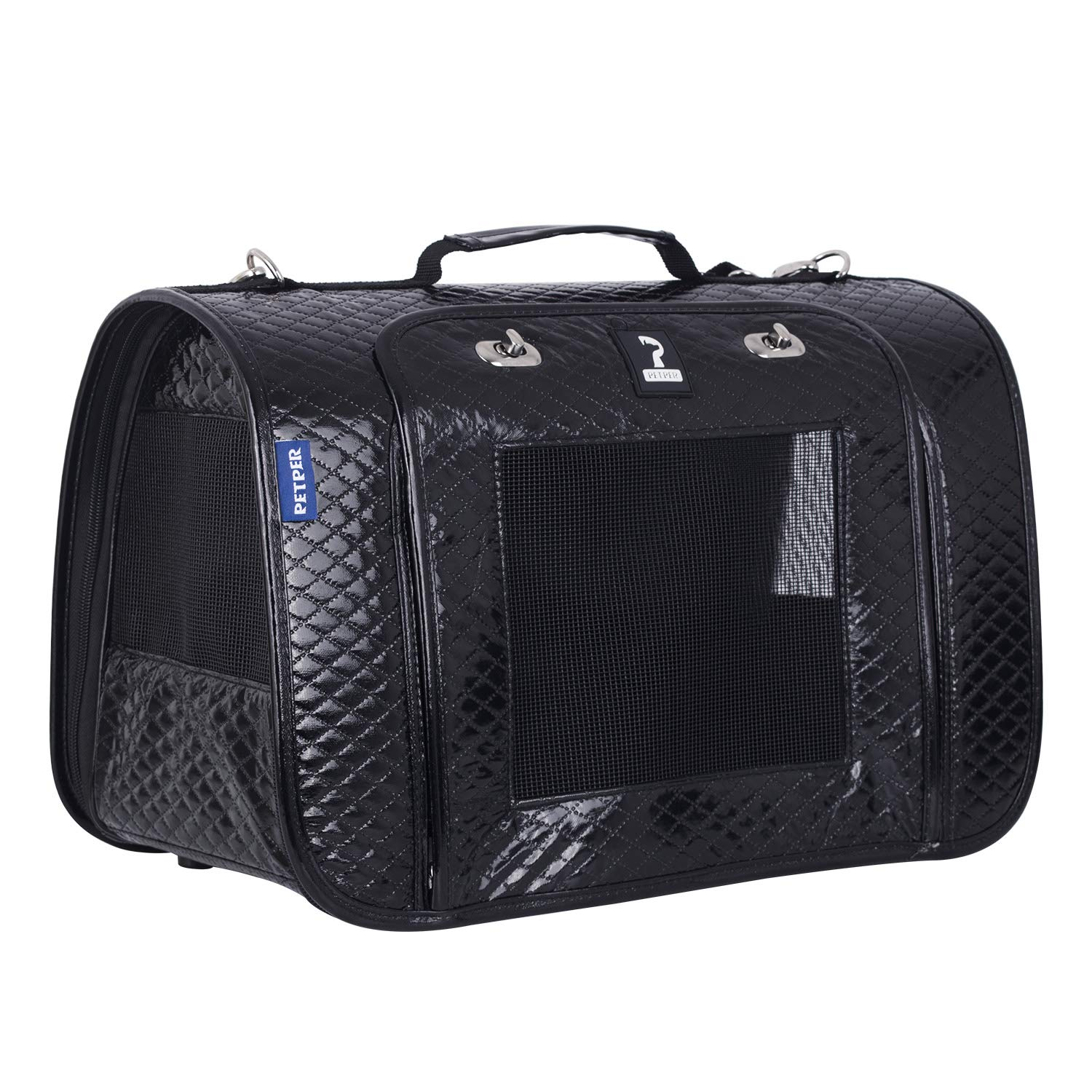 Petper CW-125 Cat Carrier PU Leather Pet Carrier Designed for Cats, Small Dogs, Kittens, Puppies Pet Travel Carrying Handbag for Outdoor Travel Walking Hiking
