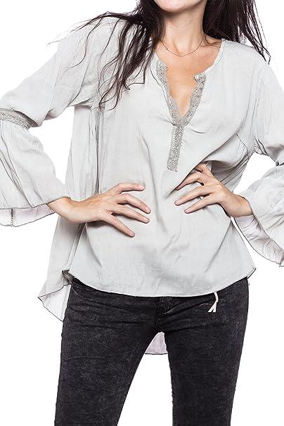 Abbino Valeria Camisa Blusa Top para Müjer - Hecho en ITALIA - 5 Colores - Verano Otoño Invierno Mujeres Femenina Elegante Formale Manga Larga Casual ...