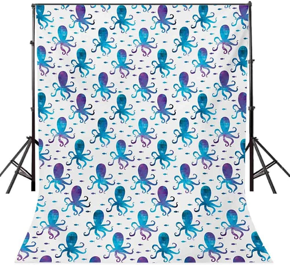 Octopus 10x12 FT Backdrop Photographers,Mosaic Pattern Marine Animal Silhouettes Abstract Nautical Polygonal Design Background for Party Home Decor Outdoorsy Theme Vinyl Shoot Props Blue Purple White