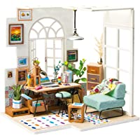 ROBOTIME Miniature Dollhouse Kit Decorations with Lights and Furnitures DIY House Craft Kits (SOHO TIME)