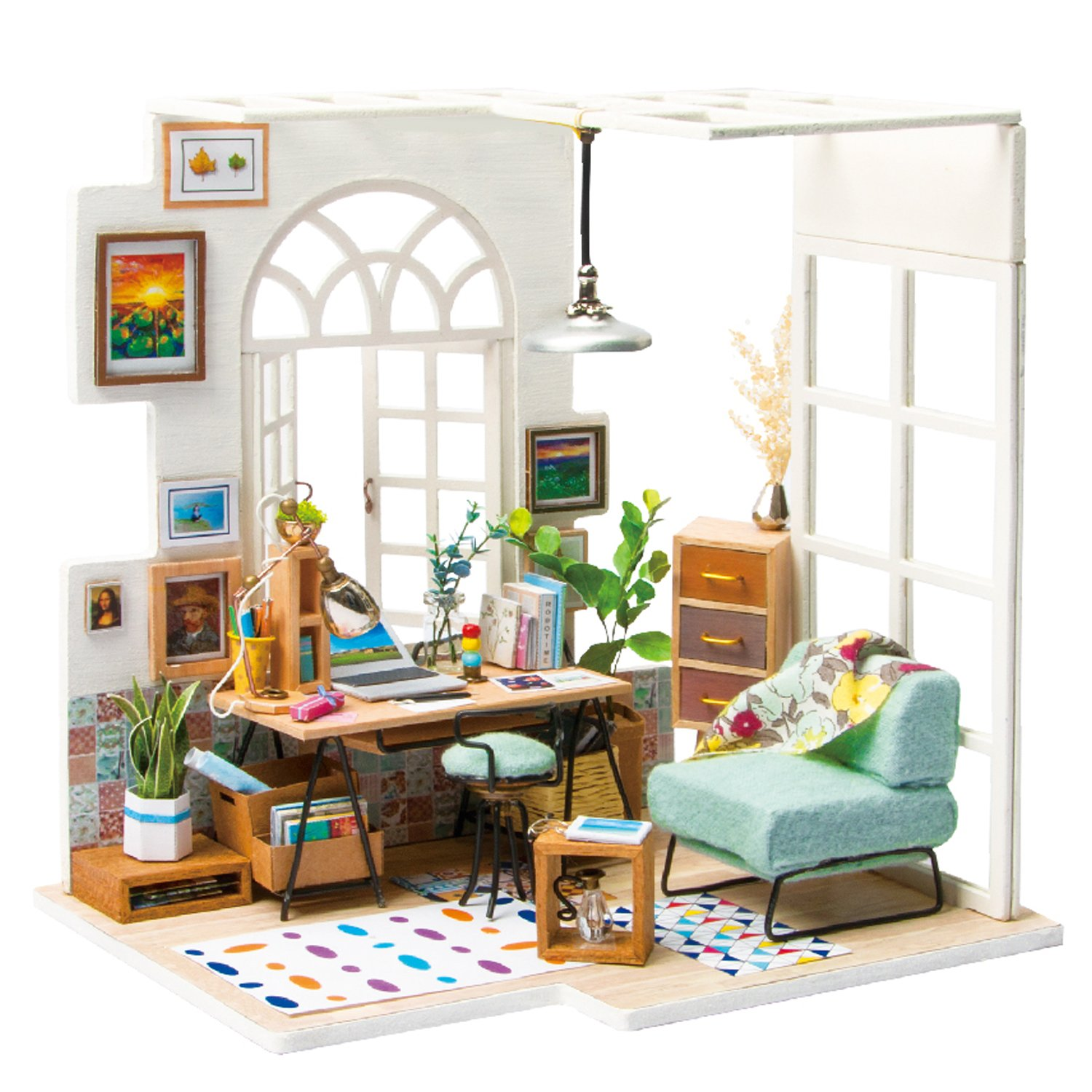 Rolife QLCRAFT DIY Balcony Miniature - Mini Doll House Model Kits to Build - Christmas Valentine's Birthday Gift for Girls … ROBOTIME