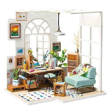 Hervorragend ROBOTIME Miniature House   Holz Puppenhaus Für 14 Jahre Alte Mädchen   Wohnzimmer  Zubehör Und Möbel