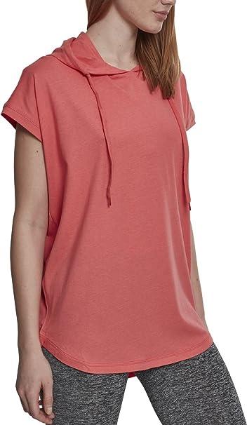 Urban Classics Damen Kapuzenpullover Ladies Sleeveless Jersey Hoodie, leichtes Kurzarm T-Shirt mit Kapuze