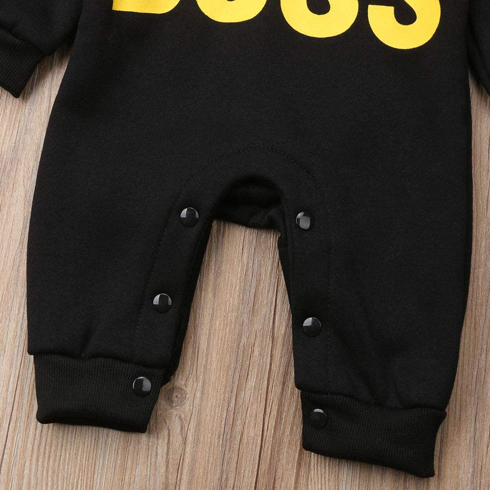 LXXIASHI Newborn Baby Im The Boss Ears Hooded Fleece Jumpsuit Infant Winter Romper Outfits Clothes