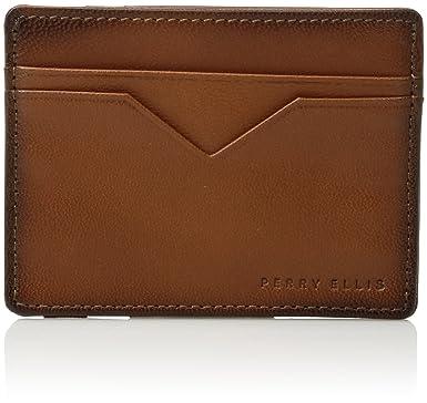 a23b671a49d1 Perry Ellis Men's Portfolio Card Holder with A Sliver Tone Logo