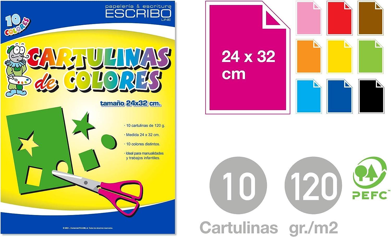 Block 10 CARTULINAS Originales - Gramaje: 120gr/m2 - Medida: 24x32cm - COLORES SURTIDOS - Material Reciclable.: Amazon.es: Hogar