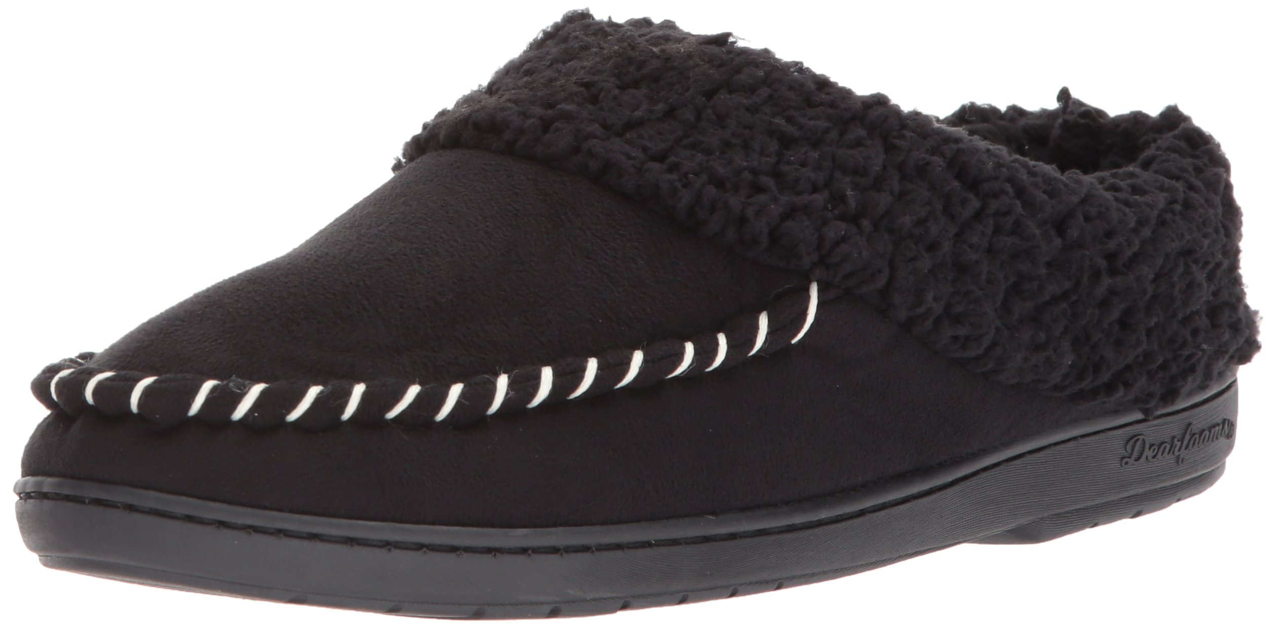 Dearfoams Women's MFS Clog with Whipstitch, Black, XL Medium US