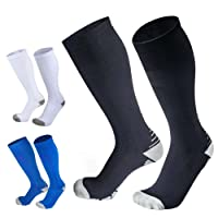 5 Pairs Compression Socks for Man & Woman, Graduated Compression Stockings for Running, Nurses, Medical Use, Shin Splints, Flight Travel & Pregnancy. Boost Stamina, Circulation, Reduced Fatigue