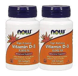 ビタミンD3(2コセット) 2000IU 120ソフトカプセル ナウフーズ Now foods [並行輸入品]