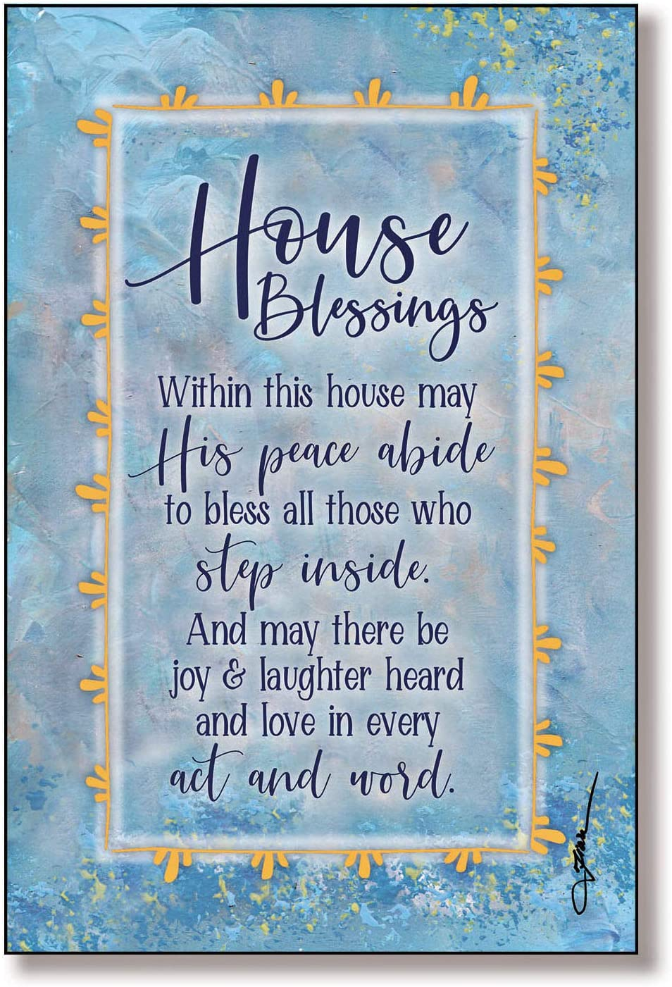 House Blessing Wood Plaque with Inspiring Quotes 6x9 - Vertical Frame Wall & Tabletop Decoration | Easel & Hanging Hook | Within This House May His Peace Abide, to Bless All Those who Step Inside