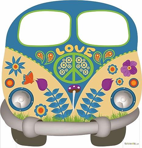 Photocall Hippy 1,50x1,54m | Photocall Furgoneta Hippie para Decoracion de Fiestas, Eventos, Cumpleaños | Photocall Elegante y Resistente | Contiene 2 ...