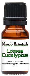 Miracle Botanicals Lemon Eucalyptus Essential Oil - 100% Pure Eucalyptus Citriodora Hook - Therapeutic Grade 10ml