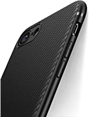 Cover iPhone 7 Cover iPhone 8 J Jecent [Look in Fibra di Carbonio] Custodia Protezione in Morbida Silicone TPU [Anticaduta Antiscivolo Antigraffio Antiurto] Case per iPhone 7/8 - Nero