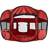 "OxGord 8-Panel Pop-Up Tent with Carry Bag Portable PlayPen for Pets, 48 by 48 by 25"", Red"