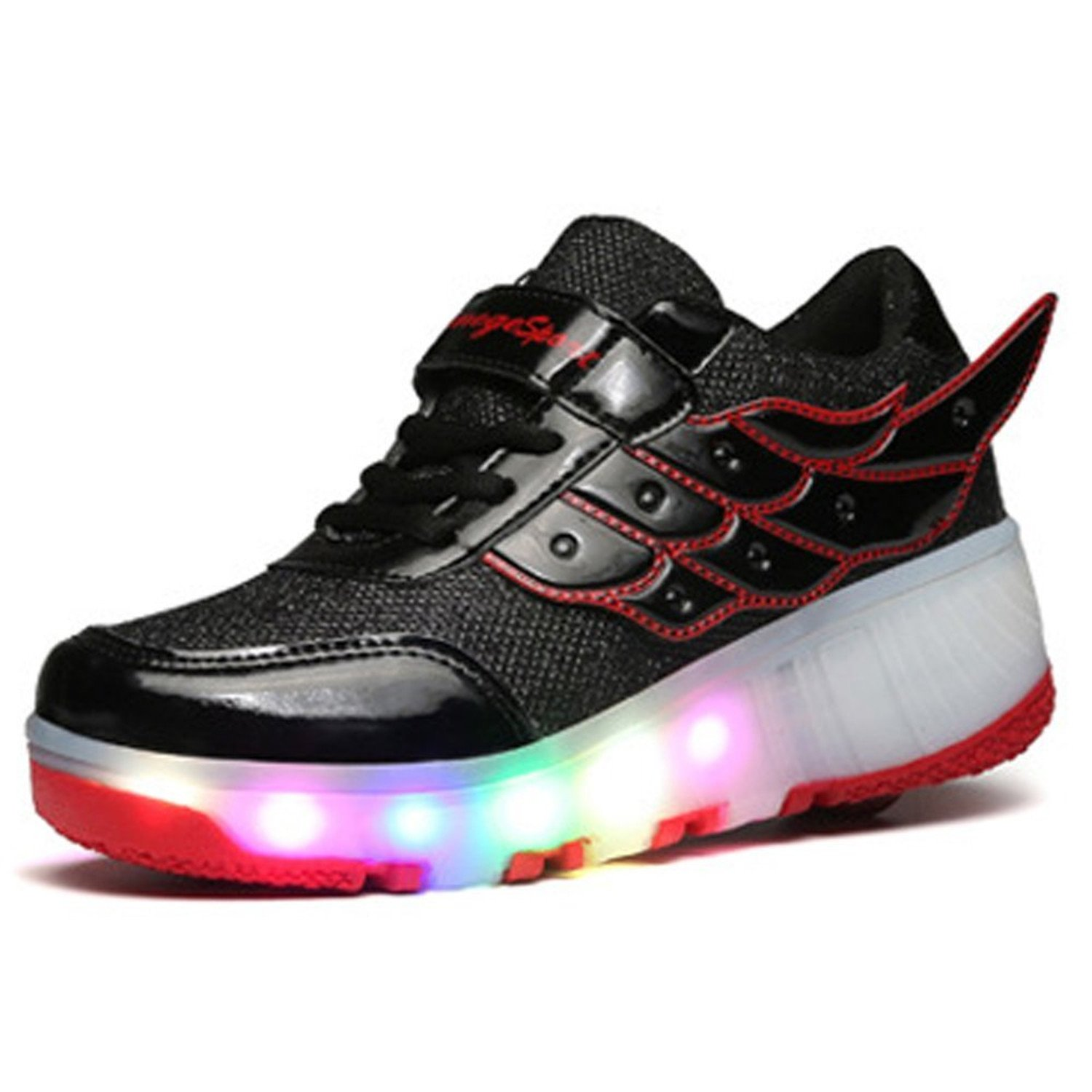 Yilaiyiqu/_1 Popular Kids fashion sneakers with single wheels LED roller skate Red4.5 M US Big Kid Comfortable