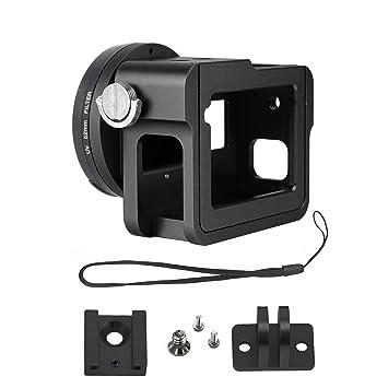 Gurmoir Caja de Aluminio de la Carcasa de la aleación para Gopro Hero 6 cámara de acción,Funda Protectora Lado Abierto de Metal con Tapa de Lente y ...
