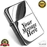 New Windproof Petrol Lighter With Free Engraving - Suitable for Wedding day, Birthday, Father's day, Gift (Silver)
