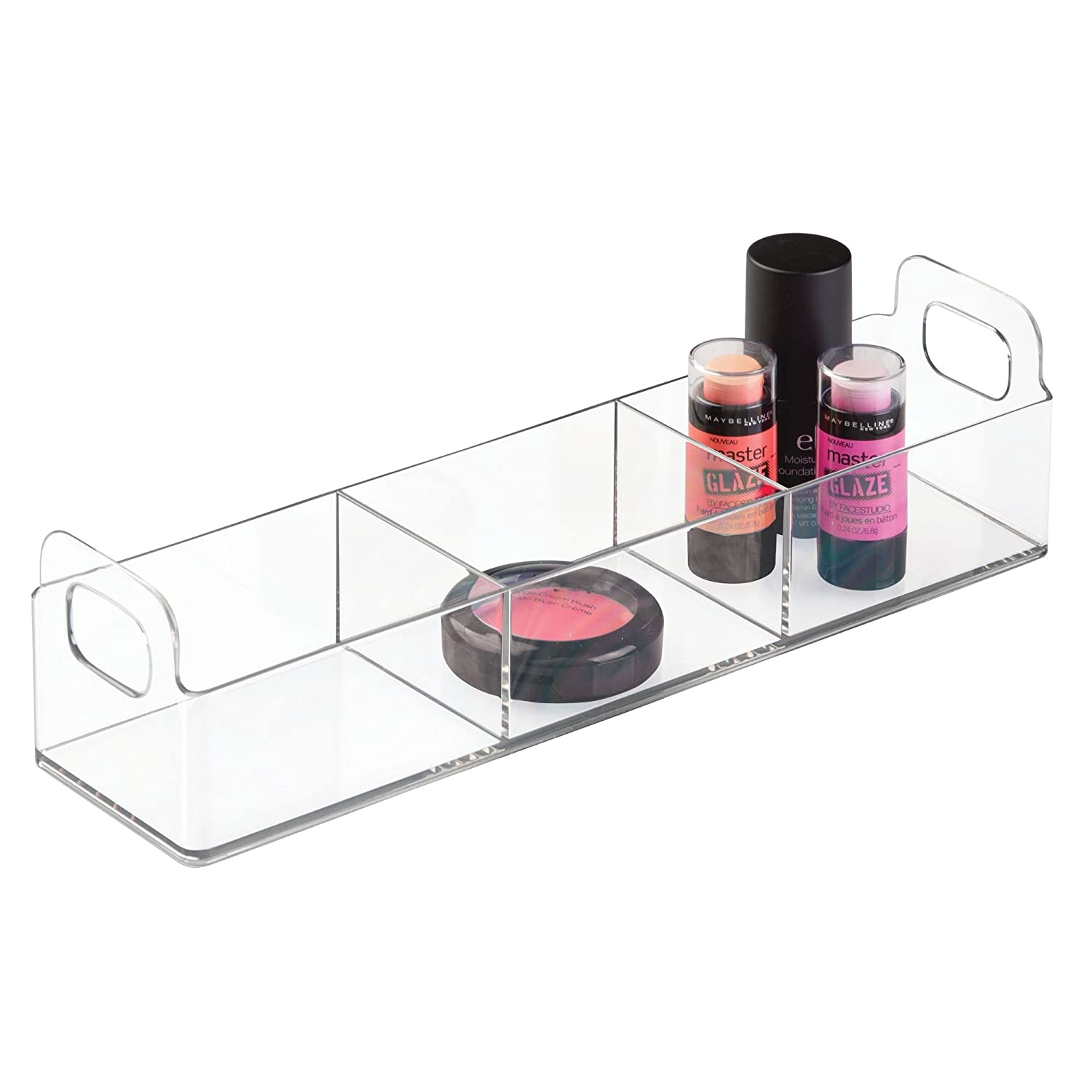 InterDesign Clarity Cosmetic Organizer Tote for Vanity or Medicine Cabinet – Perfect Storage for Makeup or Cosmetics, Large