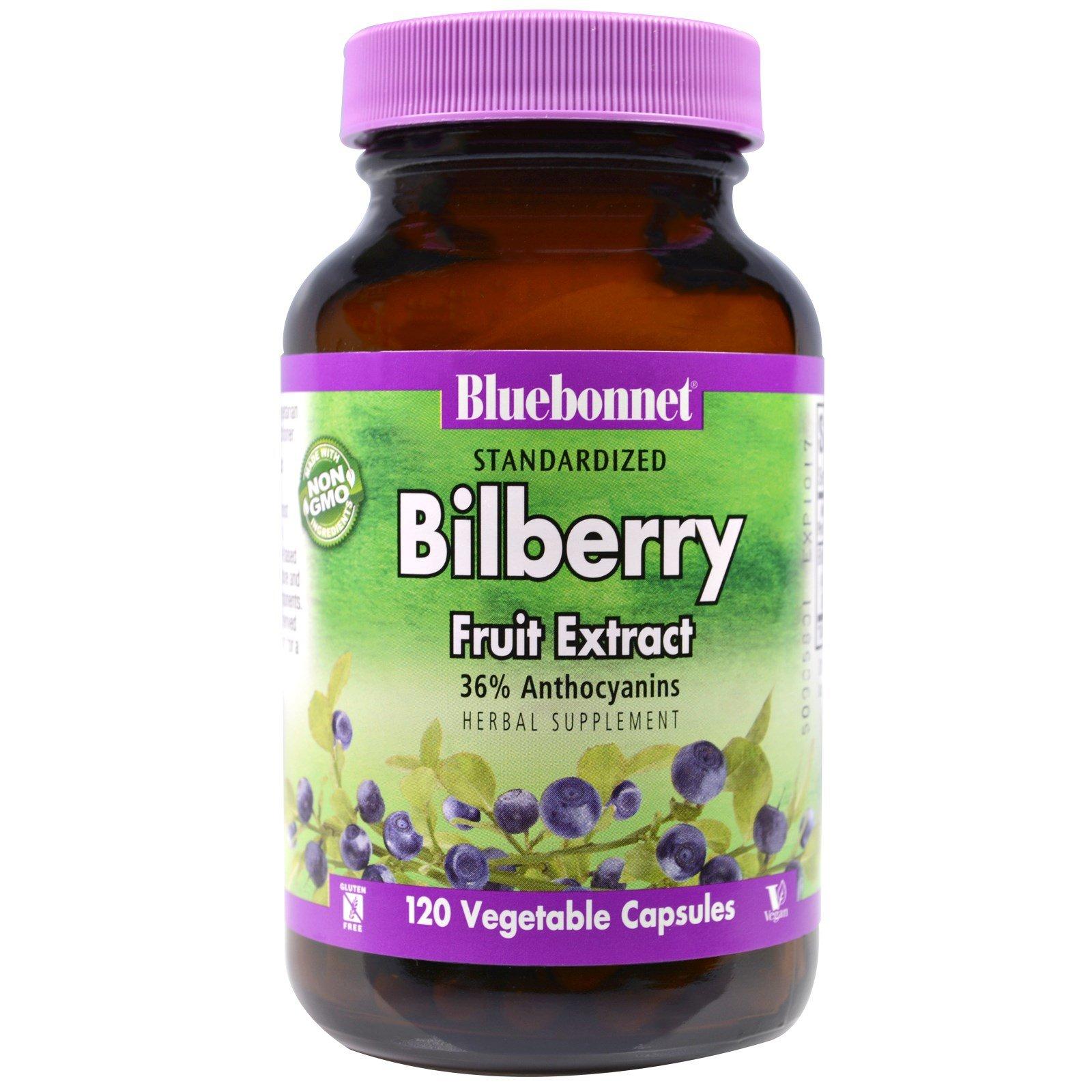 Bluebonnet Nutrition, Standardized Bilberry Fruit Extract, 120 Veggie Caps - 2pc
